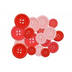 BeaLena, 18 Holzknöpfe, Rot und Rosa (18 Stck.), 1-2 cm Durchmesser