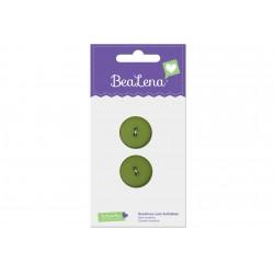 BeaLena, 2 Knöpfe, Grün, 2,3 cm Durchmesser