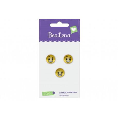 BeaLena, 3 Knöpfe (grinsender Smiley), 15mm Durchmesser