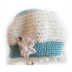 Handgefertigtes Babymützchen aus Baumwolle, Umfang 40-42, gehäkelt
