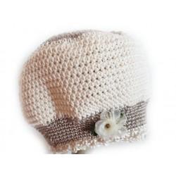 Handgefertigtes Babymützchen aus Baumwolle, Umfang 39-42, gehäkelt