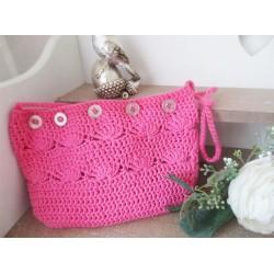 Handgefertigte Häkeltasche in Pink, 100% Baumwolle