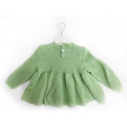 Handgefertigte grüne Jacke/Weste - Gr. 50-56, gestrickt