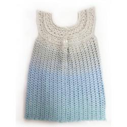 Handgefertigtes Mädchenkleid in Blautönen (gehäkelt), Gr. 92-98