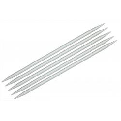 "KnitPro 5er - Stricknadel-Spiel mit Doppelspitze ""Basix"", Aluminium, Stärke: 3,0mm, verschiedene Längen"