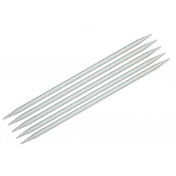 "KnitPro 5er - Stricknadel-Spiel mit Doppelspitze ""Basix"", Aluminium, Stärke: 5,0mm, verschiedene Längen"