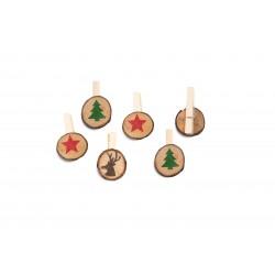 Hotex, 6x weihnachtliche Holzklammern zum Basteln und Dekorieren