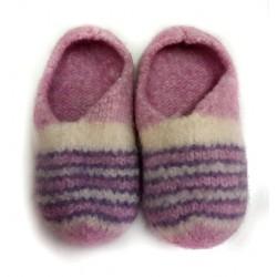 Hausschuhe aus Filz, Gr. 35-36 (rosa/lila), handgefertigte Filzpantoffeln, Filzhausschuhe, Filzschuhe