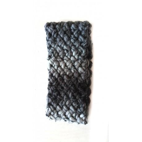 Stirnband für Kinder, Flechtmuster, schwarz-weißer Farbverlauf mit Lurex, Einheitsgröße, handgefertigt