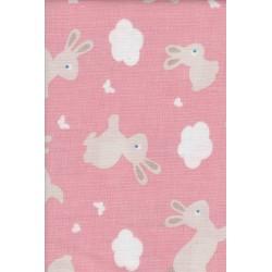 Stoff Bunny & Clooud Farbe: rosa, Nähstoff, Meterware, 100% Baumwolle, Stoffzuschnitt
