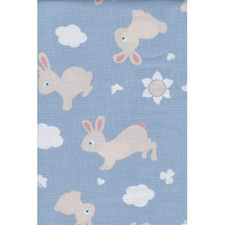 Stoff Bunny & Cloud Farbe: blau, Nähstoff, Meterware, 100% Baumwolle, Stoffzuschnitt