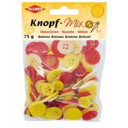 Kleiber Knopf-Mix, rot-gelb, Knopf, Knöpfe, verschiedene Größen, rund
