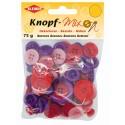 Kleiber Knopf-Mix, lila rot, Knopf, Knöpfe, verschiedene Größen, rund