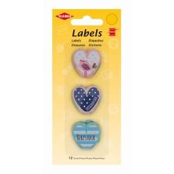 Labels aus Stoff, Herzen 12 Stück, Stofflabel, Stofflabels zum Annähen, Kleiber