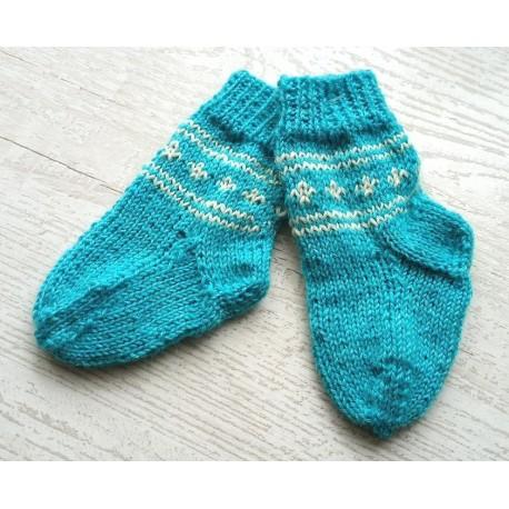 Handgestrickte Babysocken, Gr. 11-12, blau