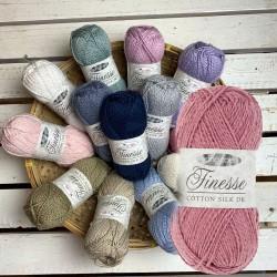 King Cole Finesse Cotton Silk DK, 50g, Strickgarn, Strickwolle, Wolle zum Stricken, Häkeln, Häkelgarn