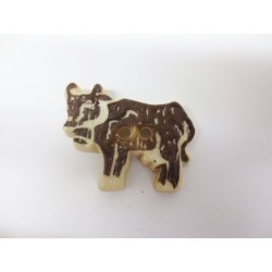 Knopf Kuh mit Holzstruktur, 30mm, Knöpfe, Kunststoffknopf
