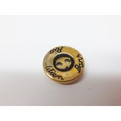 Knopf Rio-Wien-Paris, 18mm, gold, Metalloptik, Knöpfe, Kunststoffknopf