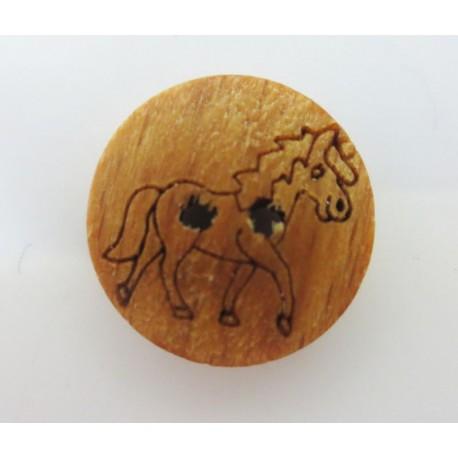 Holzknopf Pferd, 15mm, Knöpfe, Knopf aus Holz