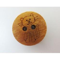 Holzknopf Katze, 15mm, Knöpfe, Knopf aus Holz