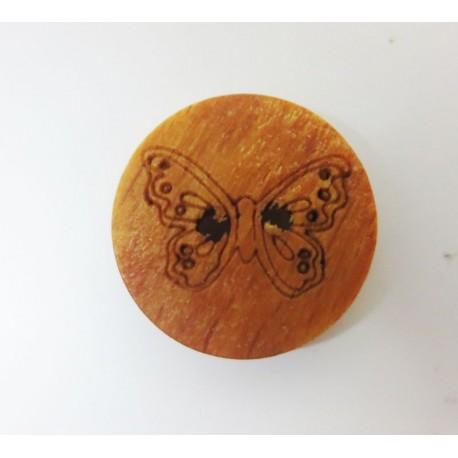 Holzknopf Schmetterling, 15mm, Knöpfe, Knopf aus Holz