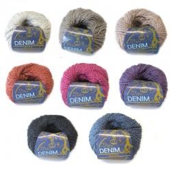 CraSy Denim Light, 50g, Strickgarn, Strickwolle, Wolle zum Stricken, Wolle zum Häkeln, Baumwolle, Merino