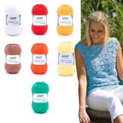 Gründl Cotton Fun, 50g, Schulgarn, 100% Baumwolle, Strickgarn, Strickwolle, Wolle zum Stricken, Wolle zum Häkeln