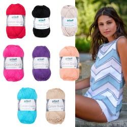 Gründl Cotton Quick Uni, 50g, 100% Baumwolle, Strickgarn, Strickwolle, Wolle zum Stricken, Sommer, Wolle zum Häkeln