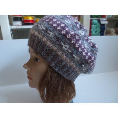 Baskenmütze mit Norwegermuster, Fair Isle Style, Kopfumfang: 50-52 cm