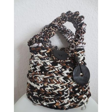 Handgefertigte, gehäkelte Tasche aus Textilgarn, Leopardenoptik
